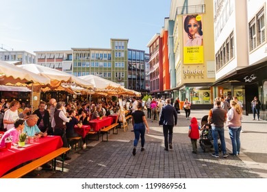 Stuttgart, Germany - September 07, 2018: market square in Stuttgart with unidentified people. Stuttgart is the capital and largest city of the German state of Baden-Wuerttemberg
