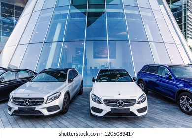 Stuttgart, Germany - September 07, 2018: cars in front of the Mercedes Benz headquarters. Mercedes Benz is a global automobile marque and division of the German Daimler AG known for luxury vehicles
