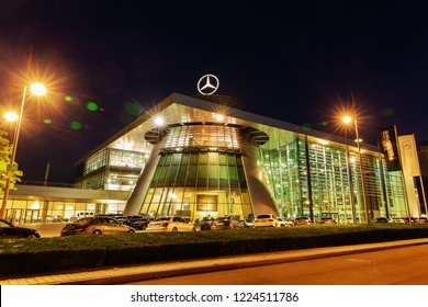 Stuttgart, Germany - September 07, 2018: Mercedes Benz headquarters at night. Mercedes Benz is a global automobile marque and a division of the German company Daimler AG, known for luxury vehicles