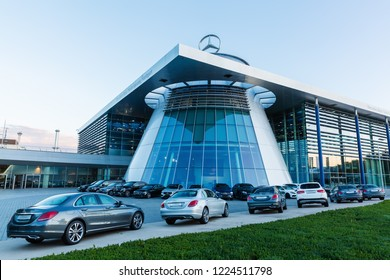 Stuttgart, Germany - September 07, 2018: Mercedes Benz headquarters at dusk. Mercedes Benz is a global automobile marque and a division of the German company Daimler AG, known for luxury vehicles