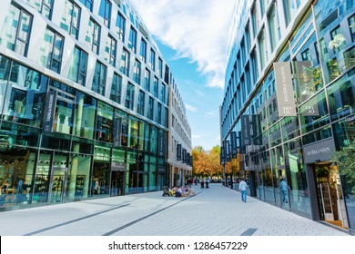 Stuttgart, Germany - September 07, 2018: shopping street in Stuttgart with unidentified people. Stuttgart is the capital and largest city of the German state of Baden-Wuerttemberg