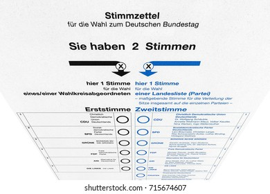 Stuttgart, Germany - September 15, 2017: Ballot card paper for federal election / parliamentary elections (for the Bundestag) in Germany.
