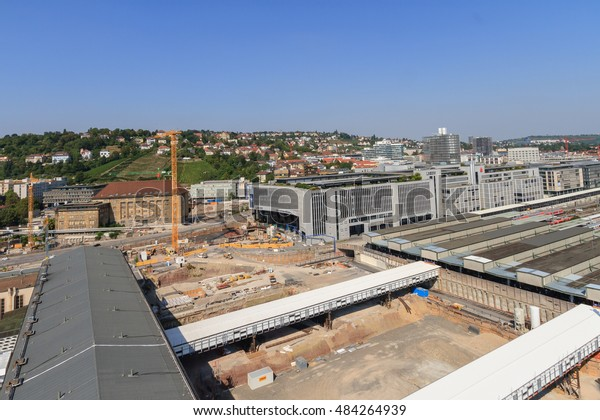 STUTTGART, GERMANY - September 16, 2016: Laying of the foundation stone for the new Stuttgart main station part of the controversially discussed 6.5 billion Euro train project Stuttgart 21 (S21)
