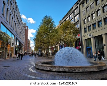 Stuttgart, Germany - September 23, 2018: On King street, Main Shopping street in Stuttgart on Sunny day.  It is the main shopping are in Stuttgart, crossing the whole downtown area.