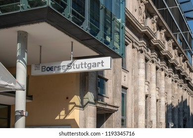 STUTTGART, GERMANY - SEPTEMBER 30, 2018: Facade of the Stuttgart stock exchange building
