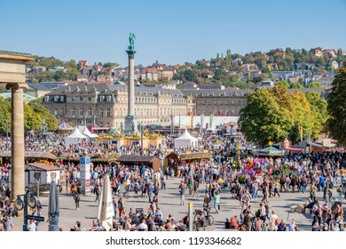 STUTTGART, GERMANY - SEPTEMBER 30, 2018: Opening of the Stuttgart Cannstadter Wasen festival at the castle place.