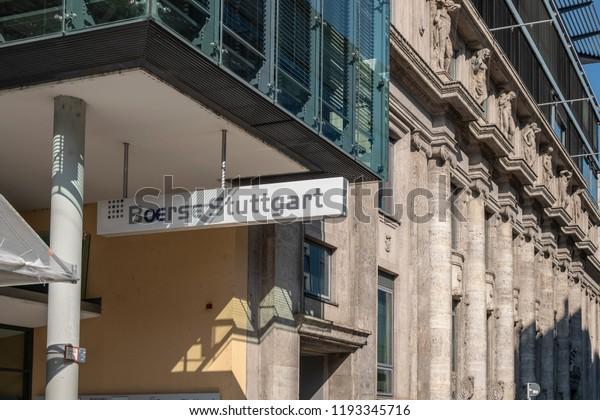 STUTTGART, GERMANY - SEPTEMBER 30, 2018: Facade of the Stuttgart stock exchange building