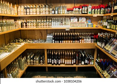 STUTTGART, GERMANY - SEPTEMBER 8 : Many alcohol whiskey and wine for sale travelers people in souvenir gift shop in Black Forest or Schwarzwald on September 8, 2017 in Stuttgart, Germany