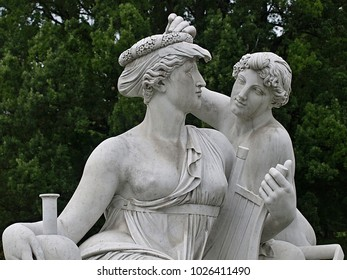 Stuttgart, Germany-08/06/2017: Romantic sculptures at a fountain in the castle gardens of Stuttgart in Germany