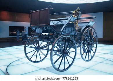 STUTTGART, GERMANY-APRIL 7, 2017: 1886 Daimler Motorized Carriage (Daimler motorkutsche) in the Mercedes-Benz Museum. It is widely regarded as the world's first four-wheeled automobile.