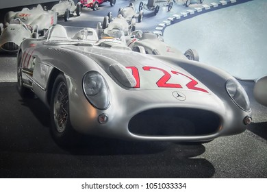 STUTTGART, GERMANY-APRIL 7, 2017: 1955 Mercedes-Benz 300 SLR racing sports car (W196 S) in the Mercedes Museum. This car was driven by Stirling Moss and holds the record of Mille Miglia