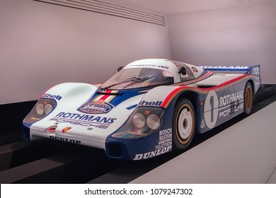 STUTTGART, GERMANY-APRIL 7, 2017: 1982 Porsche 956 in the Porsche Museum. This car holds the all-time record for the fastest vehicle ever to lap the famed Nurburgring Nordschleife.