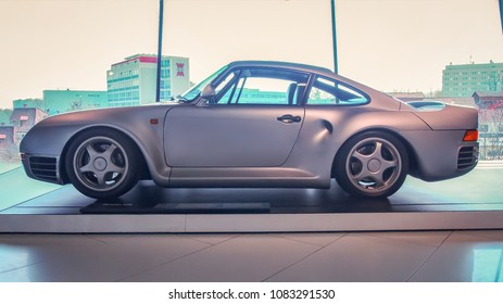 STUTTGART, GERMANY-APRIL 7, 2017, 2017: 1988 Porsche 959 in the Porsche Museum. This car is the one of the most famous Porsche's.