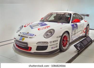 STUTTGART, GERMANY-APRIL 7, 2017: 2010 Porsche 911 GT3 RS (Drivers: Roland Asch, Chris Harris, Patrick Simon, Horst von Saurma) in the Porsche Museum