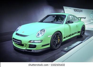STUTTGART, GERMANY-APRIL 7, 2017: Green 2007 Porsche 911 GT3 RS in the Porsche Museum