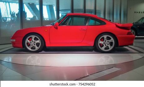 STUTTGART, GERMANY-MAY 21, 2017: 1997 Porsche 911 (993) Turbo in the Porsche Museum. This car is the one of the most famous Porsche's