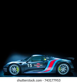 STUTTGART, GERMANY-MAY 21, 2017: Porsche 918 Spyder in the Porsche Museum. The production version of this Porsche model was unveiled at the 2013 Frankfurt Motor Show