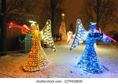 STUTTGART - January 03.2019: CHRISTMAS GARDEN - Wilhelma, Germany