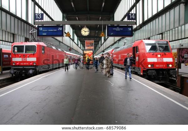STUTTGART - JULY 24: Deutsche Bahn Regio trains on July 24, 2010 in Stuttgart, Germany. DB took over Arriva Plc company in August 2010.