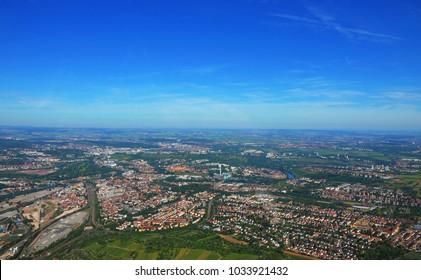 Stuttgart - June 11, 2017: Closer Aerial view of Stuttgart area, south germany on a sunny summer day