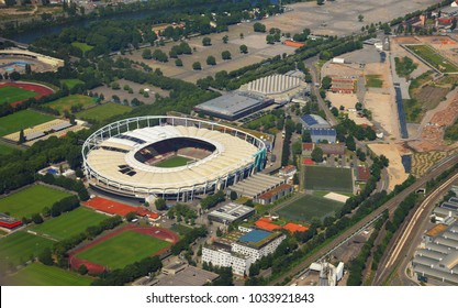 Stuttgart - June 11, 2017: Closer Aerial view of Stuttgart area and soccer stadium, south germany on a sunny summer day