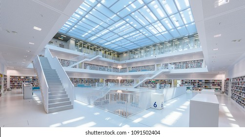 Stuttgart Library, Germany - April 19, 2018: Stuttgart Library has a modern architecture