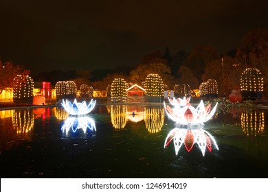 STUTTGART - November 18.2018: CHRISTMAS GARDEN - Wilhelma,  Germany 2018.11.18