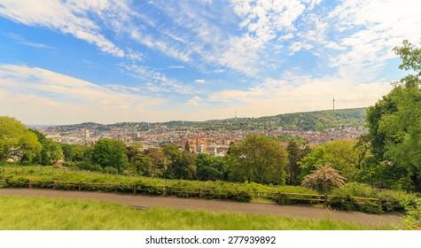 Stuttgart panoramic view from Karlshoehe