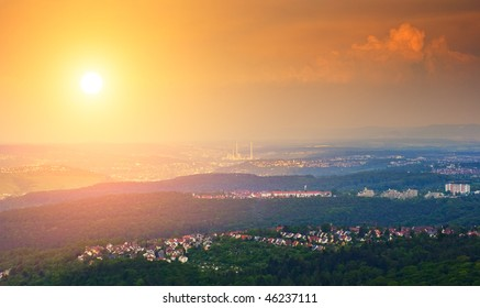 Stuttgart view from oldest tv tower, Panoramic view, Baden-Wuertemberg, Germany