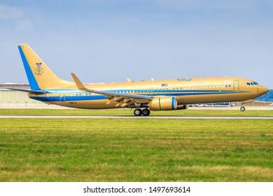Stuttgart/Germany August 22, 2019: 9M-III Sultan of Johor Boeing 737-82ZBBJ2 at Stuttgart Airport.