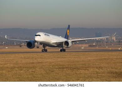 Stuttgart/Germany Dezember 31, 20016: Lufthansa A350 flighttraining at Stuttgart Airport.
