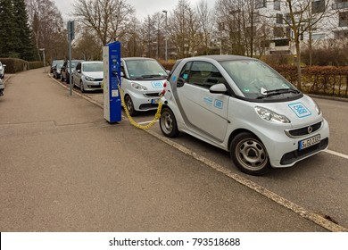 STUTTGART,GERMANY - JANUARY 14,2018: Vaihingen This is a charging point of the car hire company CAR2GO in Vollmoellerstrasse,not far away from the train station.