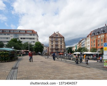 Stuttgart/Germany - July 13 2016: Marientplatz square in Stuttgart, Germany. It is the terminus point for the Stuttgart Rack Railway (German: Zahnradbahn Stuttgart).
