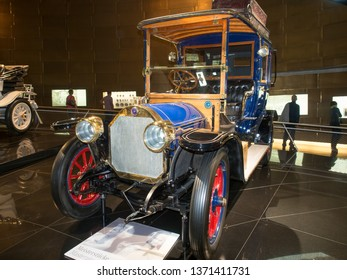 Stuttgart/Germany - July 14 2016: 1909 Benz 20/35 PS Landaulet model at the Mercedes-Benz Museum.  This is an automobile museum covering the history of the Mercedes-Benz brand.