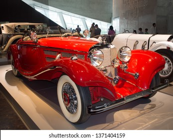 Stuttgart/Germany - July 14 2016: 1936 Mercedes-Benz 500K Spezial-Roadster model at the Mercedes-Benz Museum.  This is an automobile museum covering the history of the Mercedes-Benz brand.