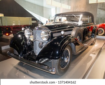 Stuttgart/Germany - July 14 2016: 1937 Mercedes-Benz 770 model at the Mercedes-Benz Museum.  This is an automobile museum covering the history of the Mercedes-Benz brand.