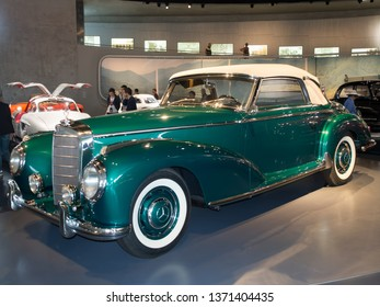 Stuttgart/Germany - July 14 2016: 1954 Mercedes-Benz 300 S Cabriolet at the Mercedes-Benz Museum.  This is an automobile museum covering the history of the Mercedes-Benz brand.