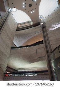 Stuttgart/Germany - July 14 2016: The atrium and elevators at the Mercedes-Benz museum.