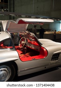 Stuttgart/Germany - July 14 2016: The iconic 1955 Mercedes-Benz 300 SL Coupe Gullwing model at the Mercedes-Benz Museum.  This is an automobile museum covering the history of the Mercedes-Benz brand.