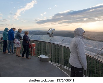 Stuttgart/Germany - July 14 2016: Tourists on Fernsehturm Stuttgart top observation deck. This is a telecommunications tower in Stuttgart, Germany. It is a popular tourist attraction.