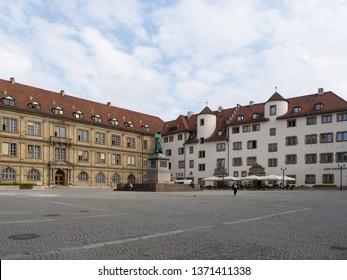 Stuttgart/Germany - July 15 2016: Schillerplatz, .a square in the old city centre named in honour of the German poet Friedrich Schiller.