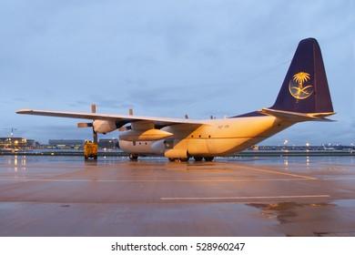Stuttgart/Germany June 3, 2008: C130 from Saudi Airforce at Stuttgart Airport.