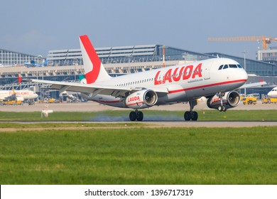 Stuttgart/Germany Mai 27, 2019: Lauda A 320 last flight at Stuttgart Airport.