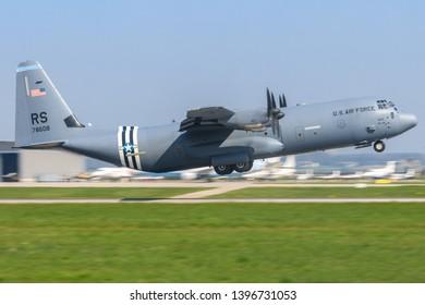 Stuttgart/Germany Mai 27, 2019: USAF Hercules C130 last flight at Stuttgart Airport.