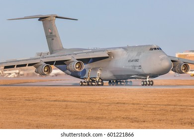 Stuttgart/Germany March 10, 2017: C5-M Super Galaxy from USA Airforce at Stuttgart Airport.