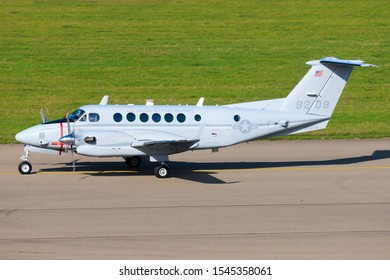 Stuttgart/Germany October 26, 2019: USAF KING AIR  at Stuttgart Airport.