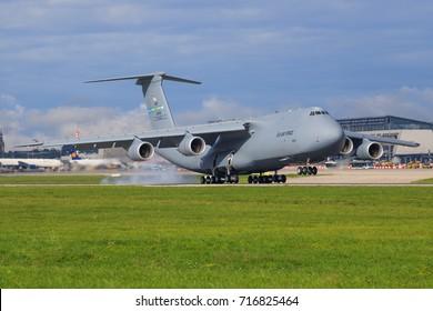 Stuttgart/Germany September 10, 2017: C5-M Super Galaxy from USA Airforce at Stuttgart Airport.