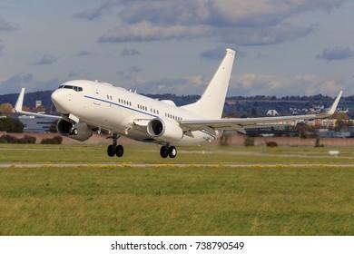 Stuttgart/Germany September 29, 2017: Usaf Boeing C-40 at Stuttgart Airport.
