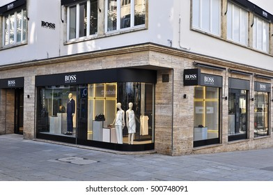 STUTTGART,GERMANY-AUG 11: HUGO BOSS fashion store on August 11,2016 in Stuttgart,Germany.