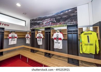 STUTTGART,GERMANY-SEPTEMBER 2016: in the changing room of FC Stuttgart at Mercedes-Benz Arena